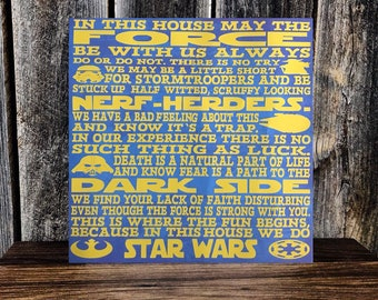 """Custom WALL DECOR Star Wars """"In This House We Do Star Wars"""""""