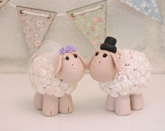 Sheep Bride and Groom Wedding Cake Topper/ His and Her Animal Anniversary Cake Decoration/ Sheep Couple Figurine Country Wedding Keepsake