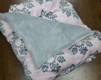 "Cozy Weighted Blanket - Small 32""x56"" (3-14 lbs) Soft Pink Damask Minky Custom Weighted Blanket"