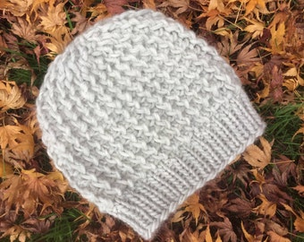 Chunky Wool Slouchy beanie hat, light grey colour, choose your colour, all sizes available