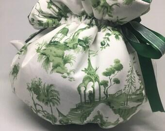 Green & White Oriental Garden theme cotton wrap style tea cozy pot warmer adjustable and reversible great gift idea Zen Meditation garden