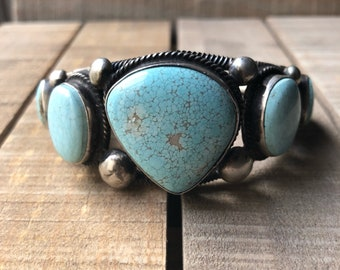 Number 8 Turquoise cuff bracelet: Native American Navajo handmade sterling silver and high grade number #8 turquoise cuff bracelet