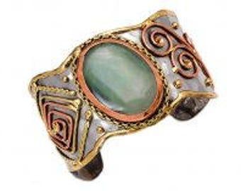Aventurine Bracelet, Mixed Metal Cuff Bracelet, Brass Copper Bracelet, Nickel Free Bracelet, Handmade, Boho Chic