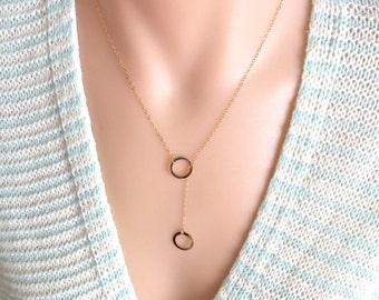 Lariat Circle Necklace, Long Circle Necklace, Double Circles Necklace, Y Circle Necklace, Gold Circle Necklace, Minimalist Necklace,Everyday