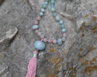 Amazonite Mala Necklace, Meditation Beads, Yoga Jewelry, 108 Mala Beads, Yoga Necklace, Boho Jewelry, Prayer Beads, Energy Healing Necklace