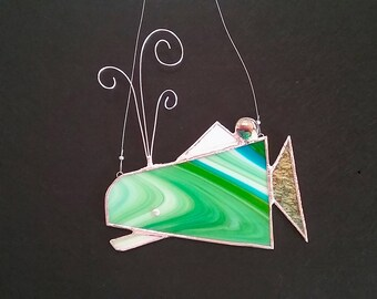 Striped Whale with green stripes stained glass wall hanging or suncatcher with curly steel wire spout (left-facing)