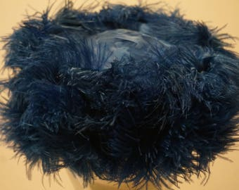 Vintage 1960s Blue Ostrich Feather PillBox Hat
