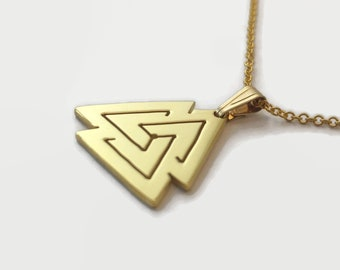 Tiny Gold Plated Valknut Necklace - Handmade Viking Jewellery - A 24-carat gold plated Norse Valknut charm on a delicate chain