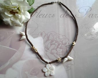 Tiara and shell flower pendant necklace
