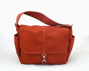 Mother s Day Big Sale VESTER // Burnt Orange / Lined with Beige / 106 // Ship in 3 days // Messenger / Diaper bag / Shoulder bag / Tote / Ca