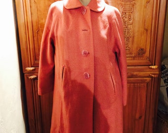 40s Kitsch Art Deco Nouveau Pink Wool Cottage Chic Jackie  O Dress Coat