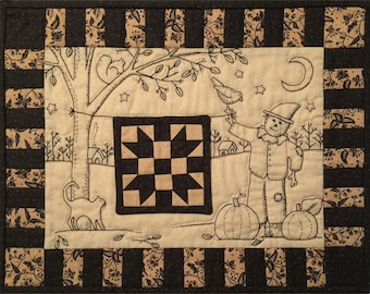 Fall Harvest embroidery scarecrow quilt PDF