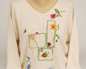 Hand Painted 100% Cotton Sweater 'All Natural' Spring design on  Natural Sweater