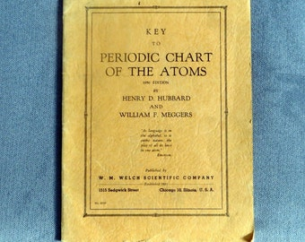 Key to Periodic Chart of the Atoms Hubbard & Meggers 1950 ed. RARE FIND