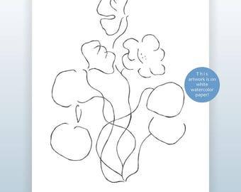 Nastriums sketch. Line art flowers drawing. Black and white illustration. Modern art.