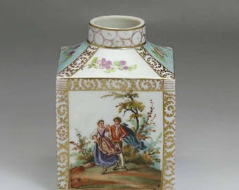 Antique Late 1800's German Dresden Porcelain Tea Caddy