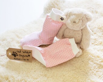 Organic Leg Warmers: footed leg warmers, long socks, baby socks, baby booties, cute baby girl, cute baby boy, baby shower gift, pink socks