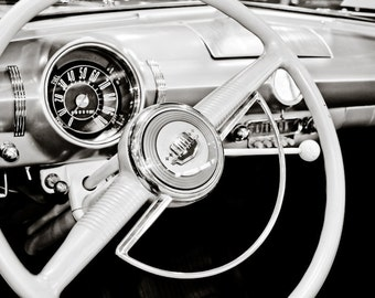1949 Ford Custom Steering Wheel Car Photography, Automotive, Auto Dealer, Classic, Muscle Car, Mechanic, Boys Room, Garage, Dealership Art