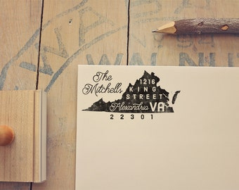 Virginia Return Address State Stamp, Personalized Rubber Stamp