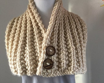 Hand Made Rib Knitted Tan Buttoned Neck Warmer Wrap Scarf Women's