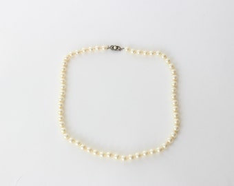 Vintage Signed 800 Silver Majorica Faux  Pearl Necklace