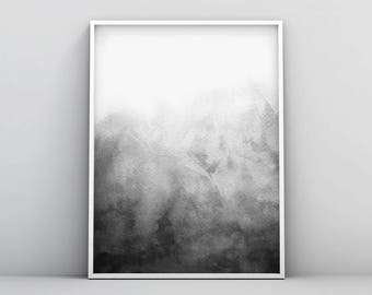 Grey and White, Poster, Modern, Printable Digital Download, Home Decor, Clean Design Black and White Abstract Wall Art, Minimal Watercolour