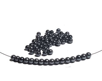 4mm Black color Glass Pearl Beads 72pcs