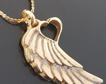 Angel Wing Gold Necklace 14kt Solid With Heart Pendant Tattoo Winged Heart Necklace