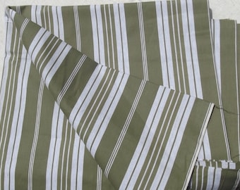 Panel of Vintage French 1930s Striped Ticking Fabric Herringbone Olive green toile matelas