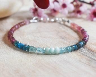 Blue Pink bracelet, Apatite Tourmaline  Bracelet, Shaded Beaded Bracelet, Ombre Stone, Romantic, Multicolor , Gradient bracelet, stackable