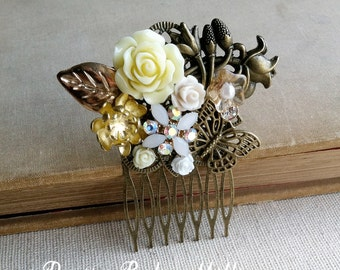 Butterfly comb, Gold Bridal Hair Comb, butterfly hair clip, butterfly garden wedding hair accessories flower woodland hair comb