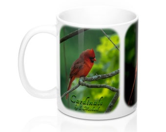 Cardinals In Summer (3 View Softedge) Photo Mug 11oz By S.Michael Quality Photo Gift Cardinal Bird Lover Mug for Coffee Lovers Coffee Mug