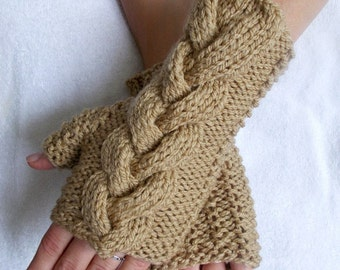 Light Brown Gloves Acrylic Cabled Fingerless Wrist Warmers Women Acrylic