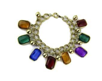 Faux Gemstone Bracelet / Emerald Cut  Lucite Charms/ Plastic Multi Gemstones/ Rainbow Color Charms/ Double Link Charm Bracelet/Fake Gems