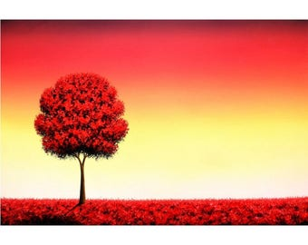 Red Tree Painting, Autumn Landscape, Fall Tree Art, Red Sky, ORIGINAL Oil Painting, Palette Knife, Contemporary Art, Large Canvas Art, 24x36