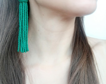 Green tassel earrings Oscar de La Renta long tassel statement earrings boho earrings bohemian earrings fringe earrings short tassel earrings