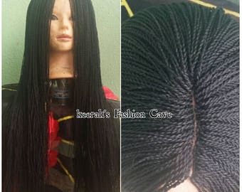 Micro million braided wig, african twisted wigs, custom made wig, lace frontal wig, hand braided wig, senegalese wig, twisted wigs