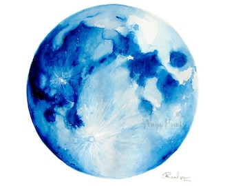Moon Watercolor Art, Original Art, Original Painting, Moon Watercolor Painting, Full Moon Art, Moon Watercolor, Moon Wall Art