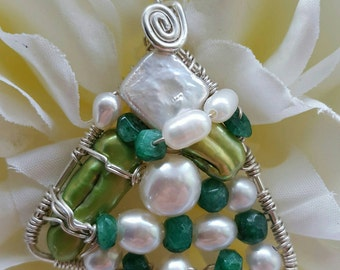 Wire wrapped Sterling silver one-of-a-kind Emerald & Green Pearl Triangle Pendant