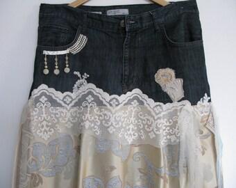 Recycled denim gypsy boho skirt / big size
