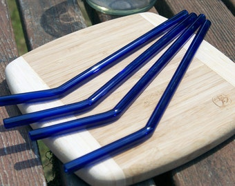 Eco-Glass Straws - Set of 4 Cobalt Blue Bended Reusable Straws- Lifetime Guarantee - Pretty and Eco Friendly
