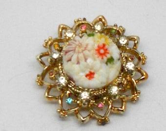 REDUCED PRICE! Vintage Ceramic Flowers and Rhinestone Brooch