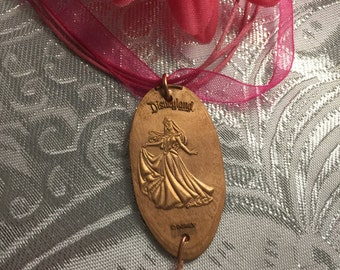 Sleeping Beauty Aurora Pressed Penny Disneyland Pendant