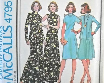 McCall's 4795 Misses Dress and Jacket Pattern Size 12, Factory Folded Uncut, Vintage, 1975, Sewing Pattern 1970s Dress Pattern McCalls
