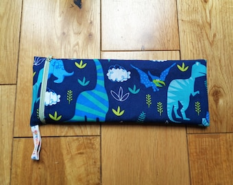 Reuseable Straw Bag - Cutlery Pouch Eco - Waterproof Lined Zip Pouch - Crochet Hook Pouch - Pencil Case - Pen Holder - Dinosaur Side