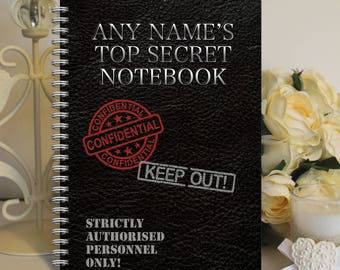 Personalised A5 Notebook Notepad Wirebound Softbacked Top Secret Agent Notes Themed