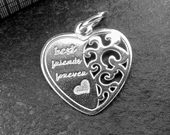 Sterling Silver Best Friends Charm,  Friendship Charm, Heart Charm, Gold charm, Sterling Silver Jewellery Supplies.