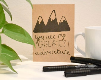 Greatest Adventure Hand lettered Greeting Card