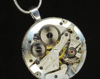 Steampunk Vintage Gorgeous Pendant . Swiss 7 Jewel Watch Movement . Industrial Victorian Gothic - Just Remember Me by enchantedbeas on Etsy