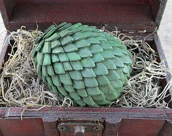 """Mini Dragon Egg & Display Chest - 2-1/2"""" Antiqued Green Egg - Mythical Decor, Dragon Lover Gift, Goth, Geeky Gift, Mythical Creature"""